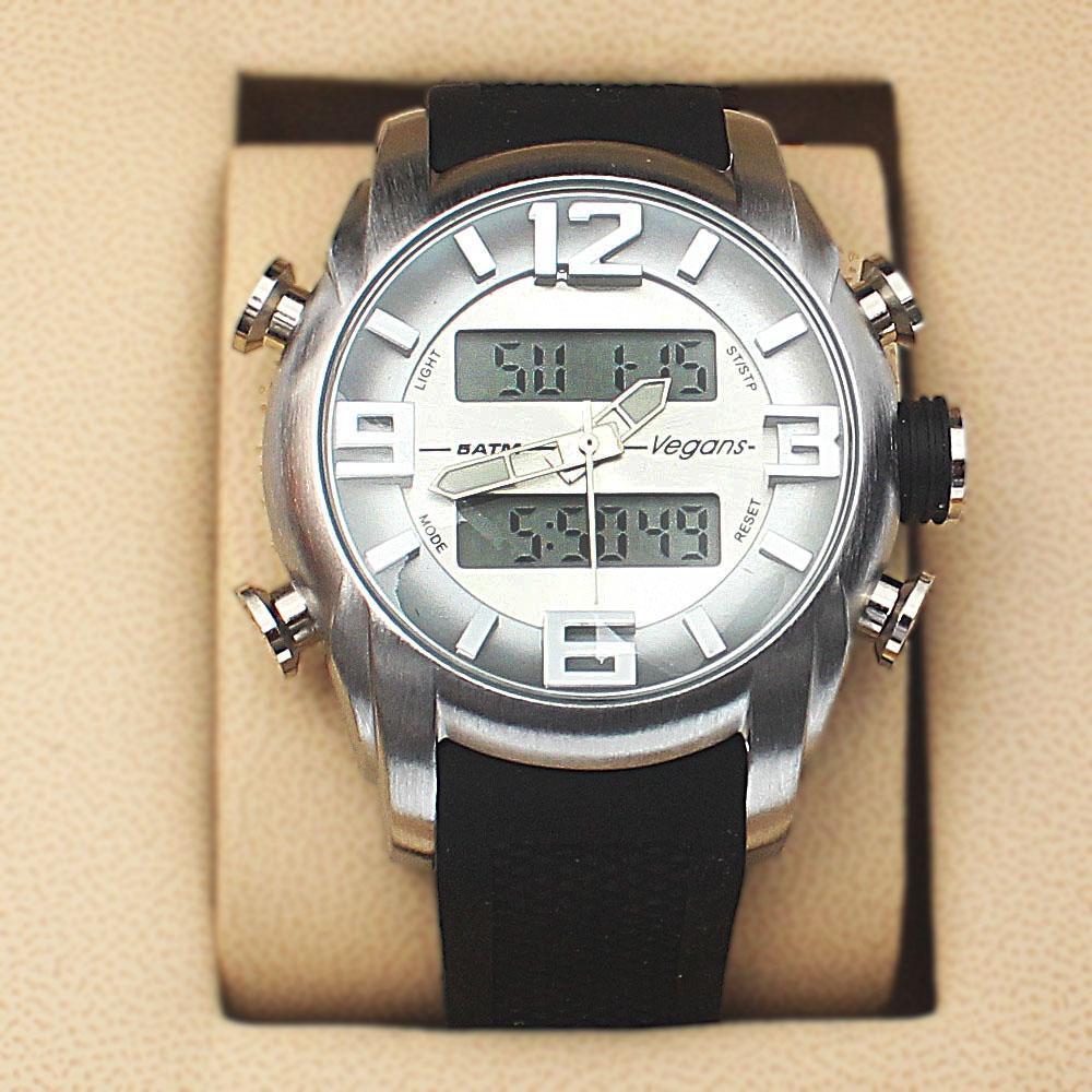 Vegans Black Rubber 5 ATM Water Resistant Analog Digital Watch