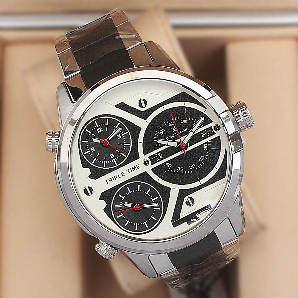 Daniel Klein Triple Time Blue Stainless Steel Fashion Watch