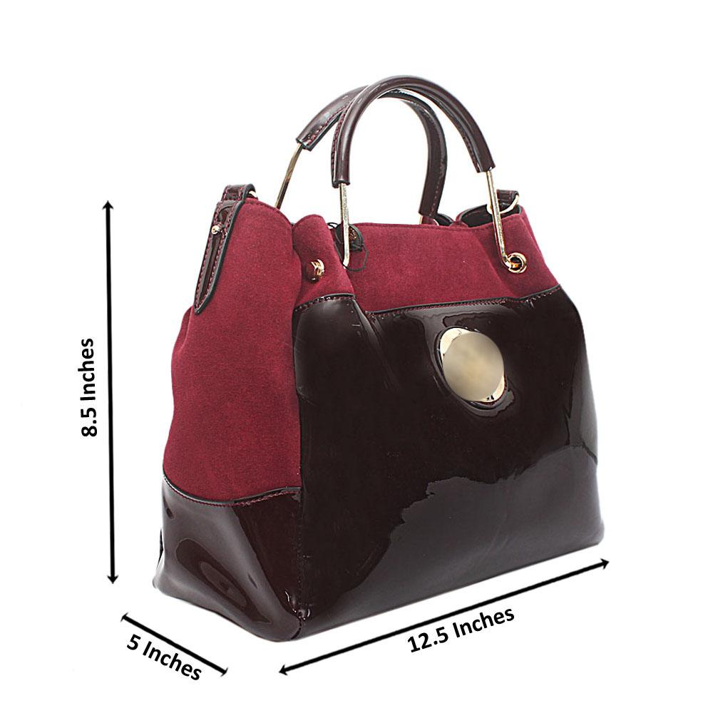 Patent-Suede Calfskin Leather Handbag