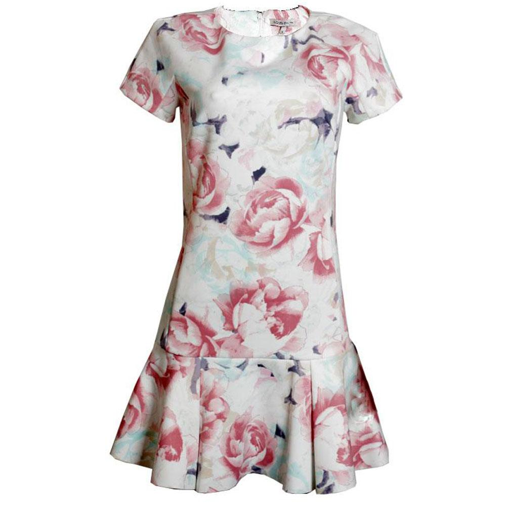 M&S White Floral Print Short Sleeve Ladies Dress-UK 10