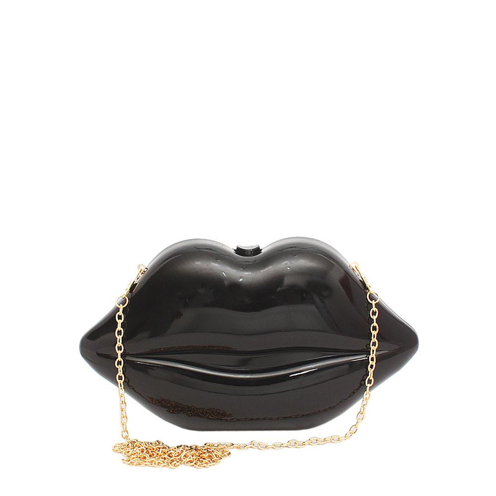 Fashion Black Lips Plastic Ladies Clutch Purse-