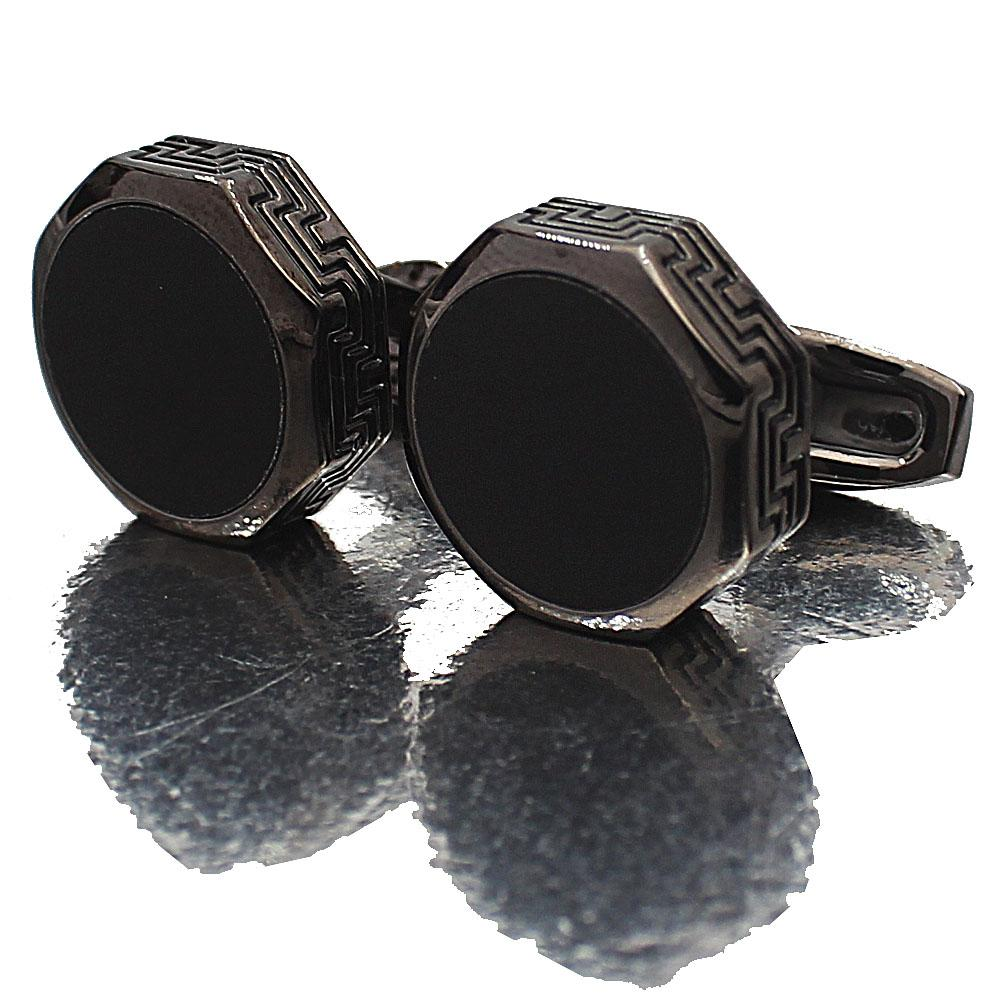 Montego Black Etched Stainless Steel Cufflinks