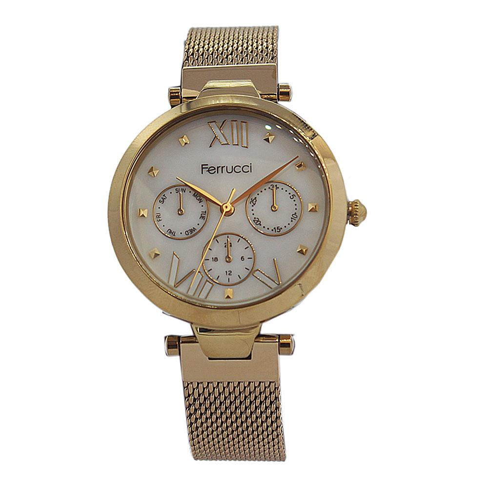 Ferrucci Avallon Gold Stainless Mesh Ladies Watch