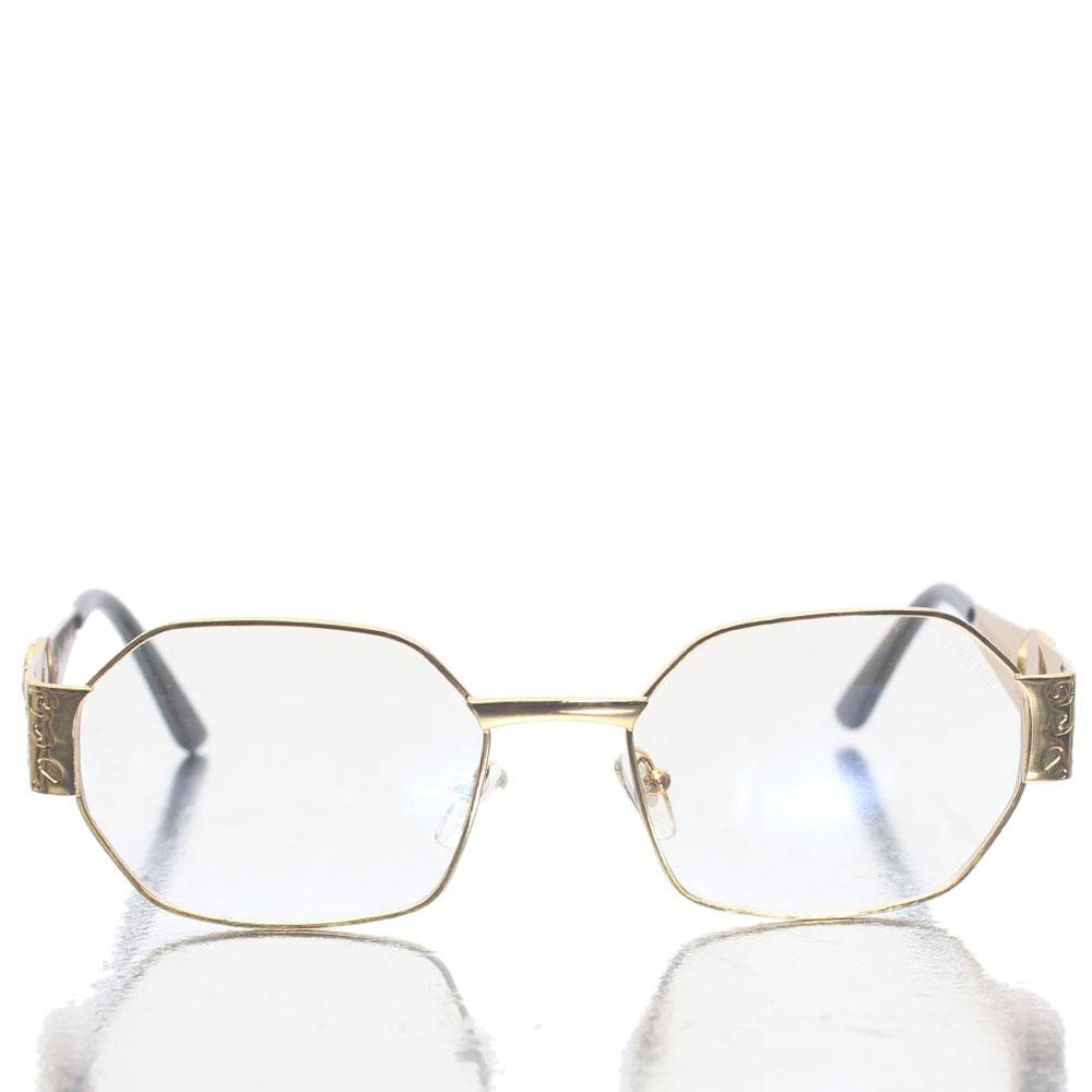 Gold Black hexagon Shape Transparent Lens Glasses