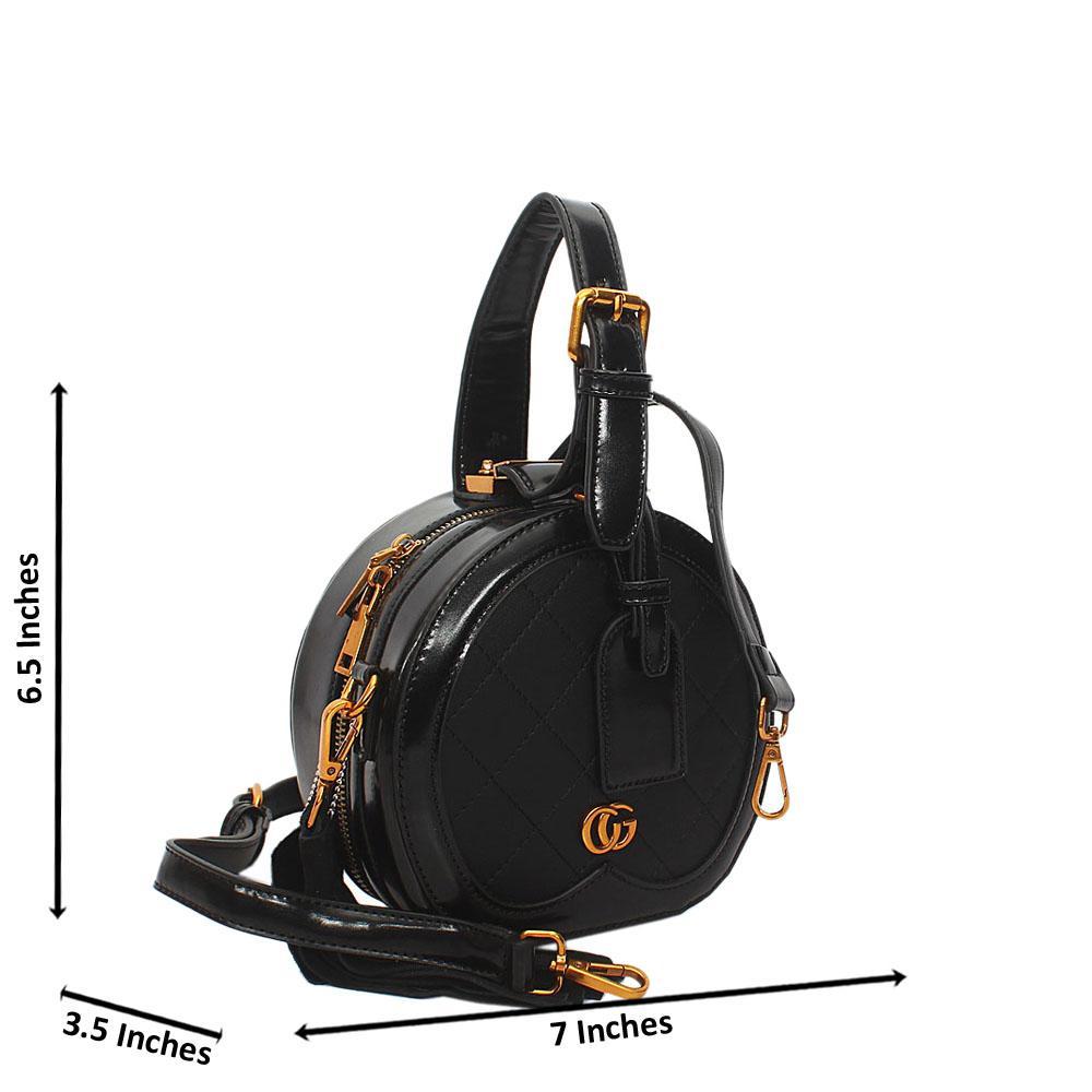 Black Liliana Round Leather Mini Top Handle Handbag