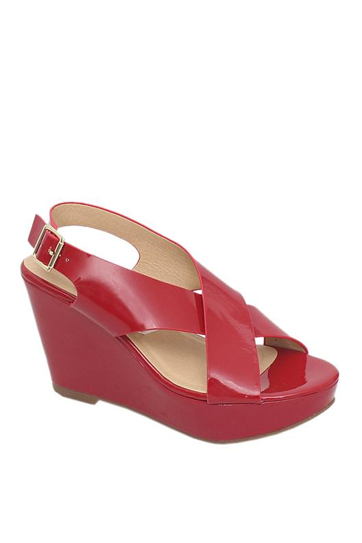 Nine West Red Leather Wedge Sandal