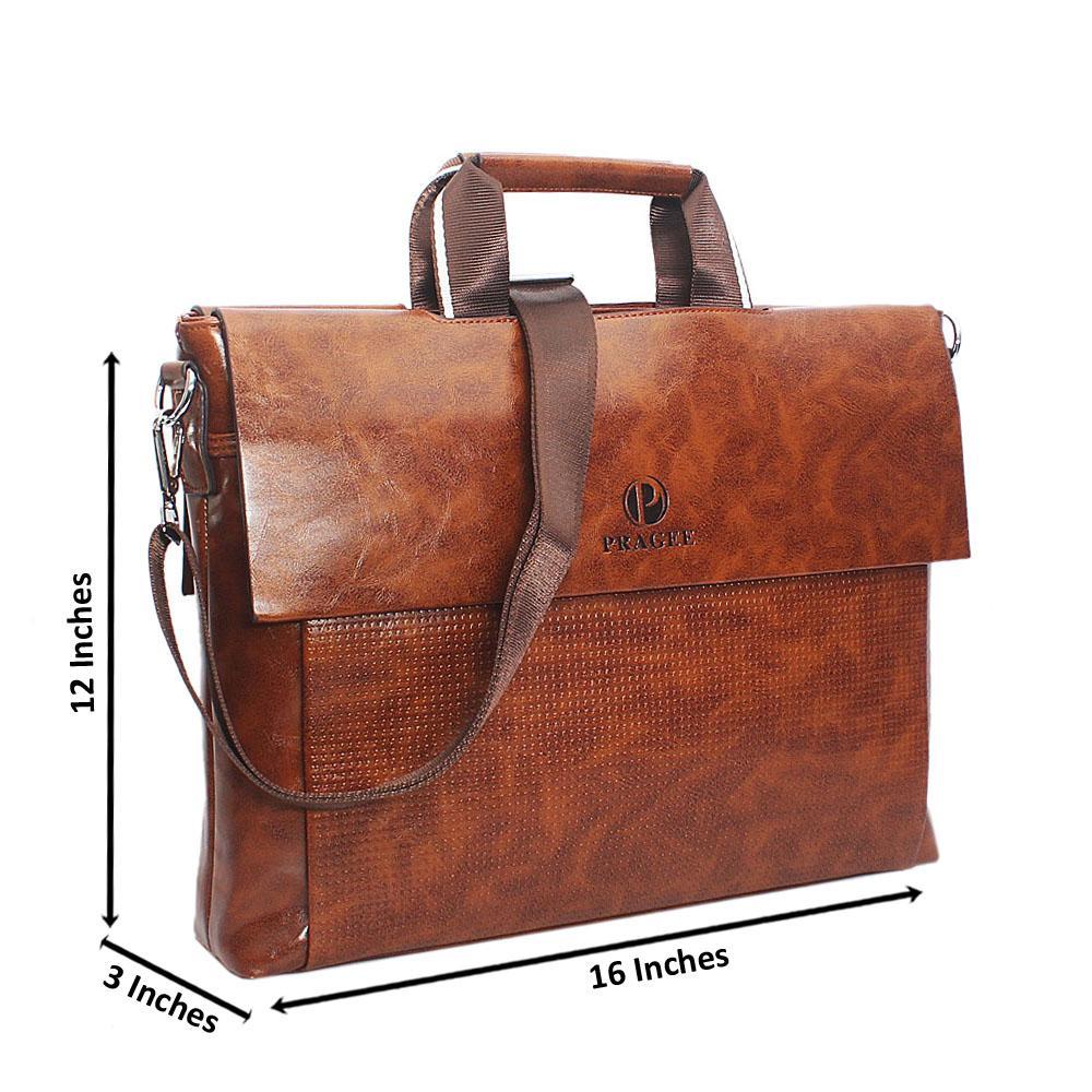Brown Etched Multiflip Leather Tote Man Bag