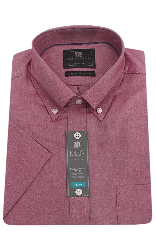 M & S Collection Wine Cotton Regular Fit S/Sleeve Men Shirt
