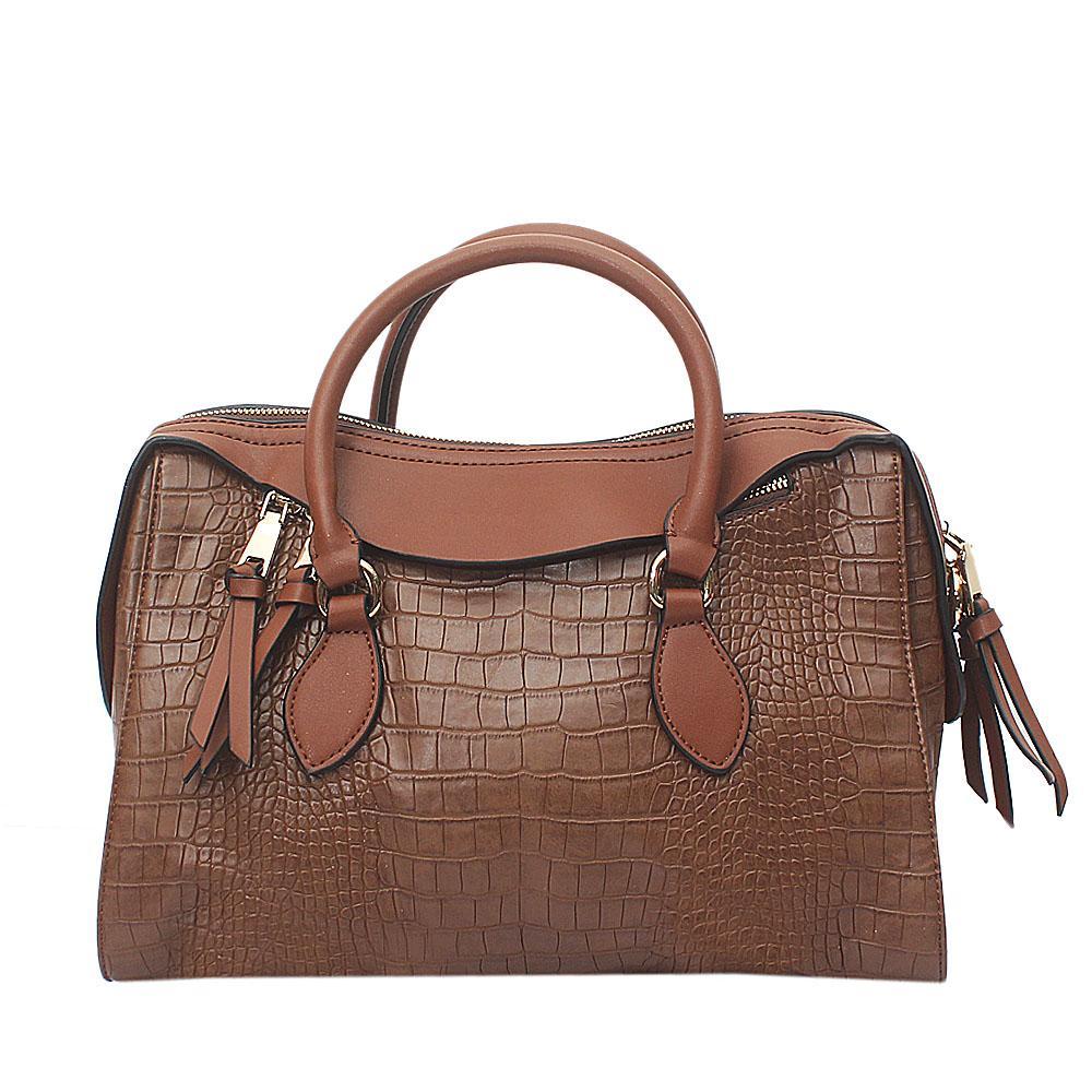 Brown Croc Leather Tote Bag