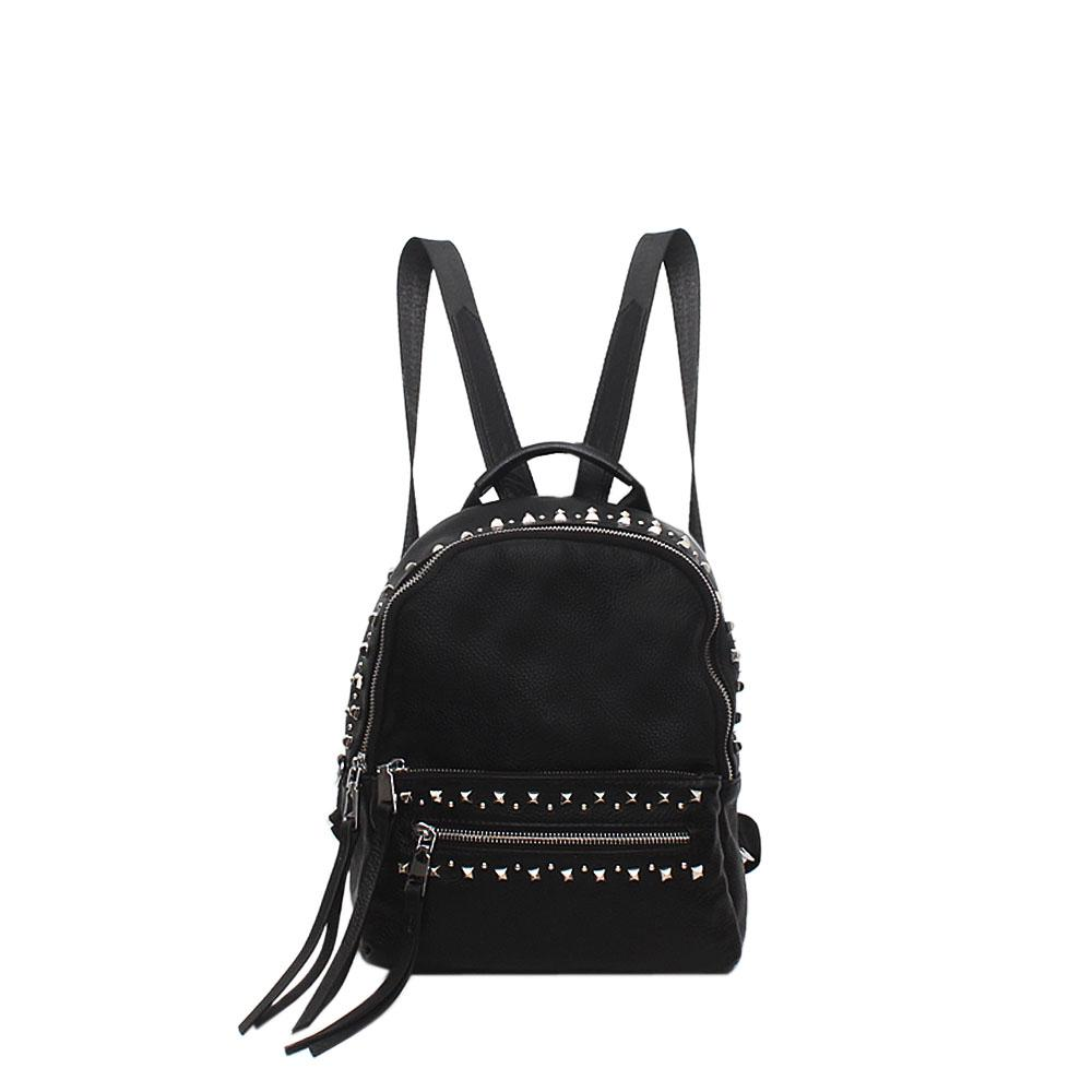 Black London Leather Studded Backpack