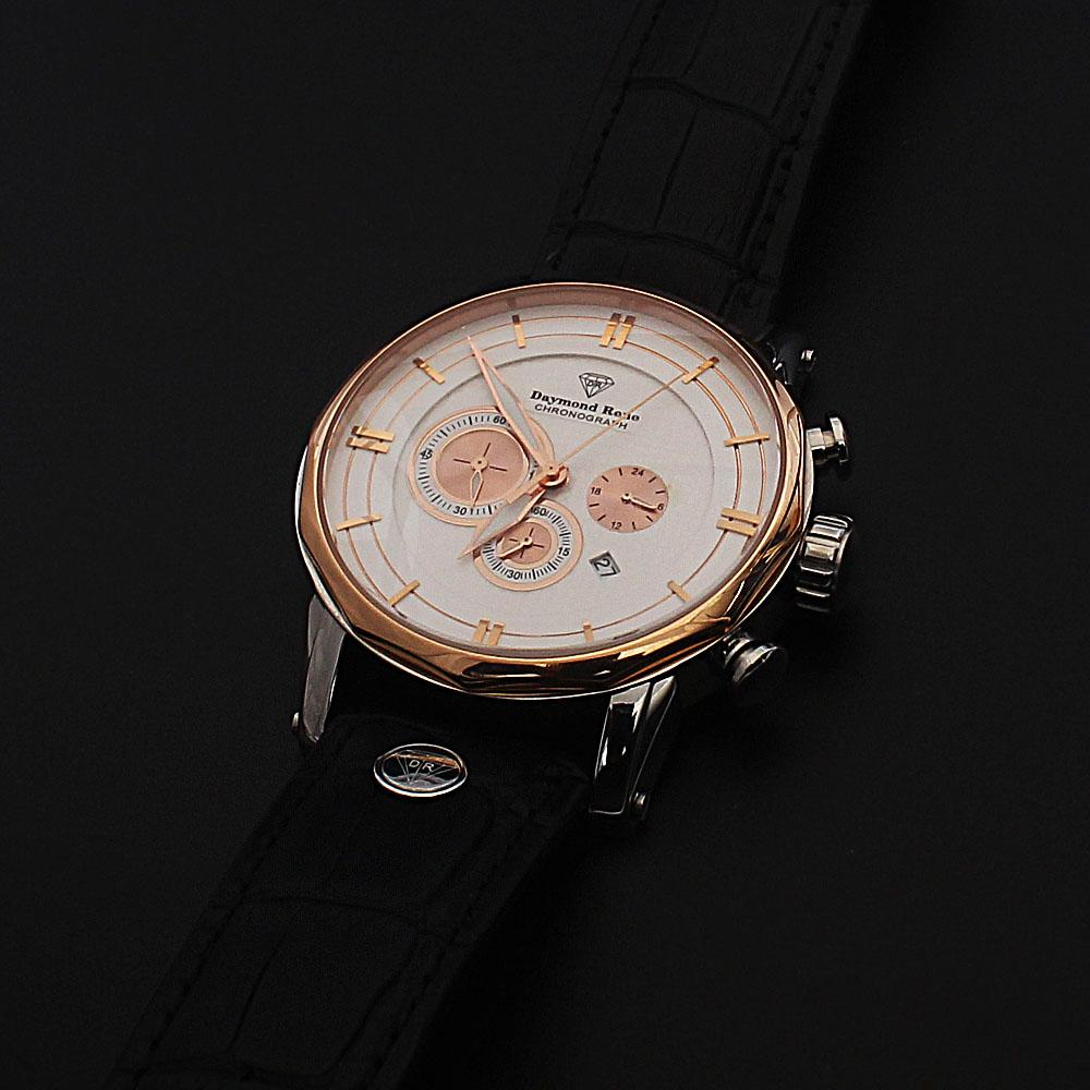 Daymond Rene Gold Black Leather Chronograph Watch