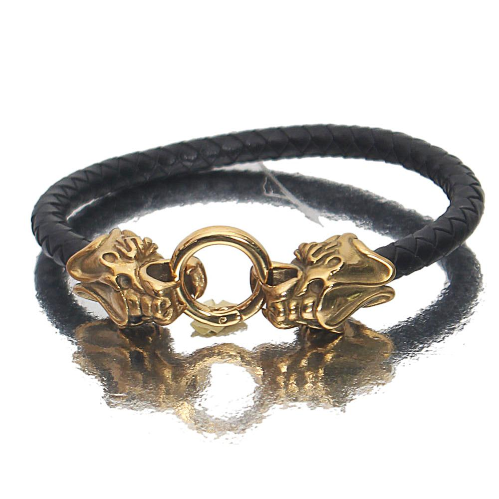Gold Black Sabertooth Leather Bracelet