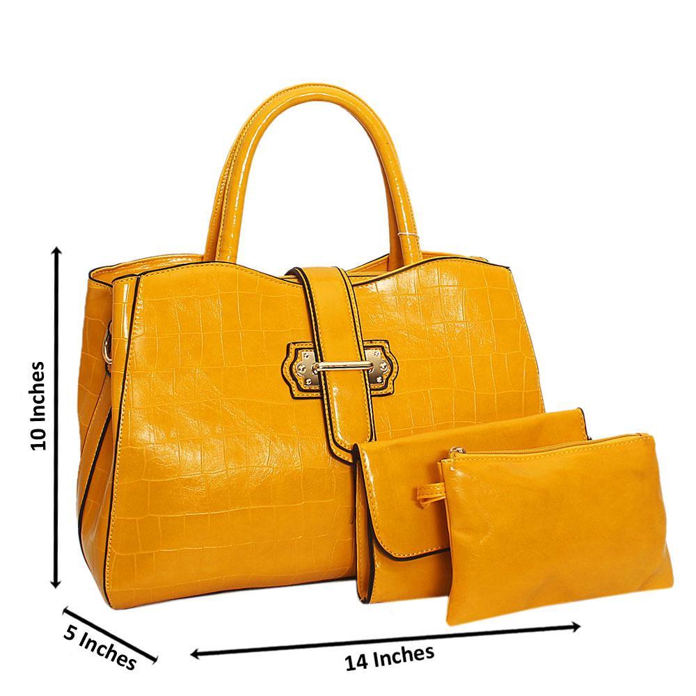 Yellow Elsie Shinny Croc Leather 3 in 1 Tote Handbag