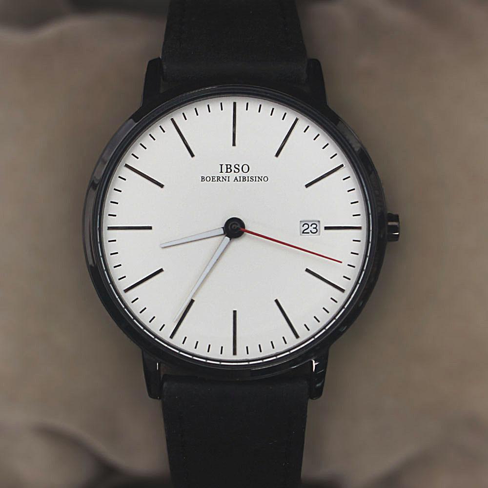 Oldskul Black White Leather Flat Watch