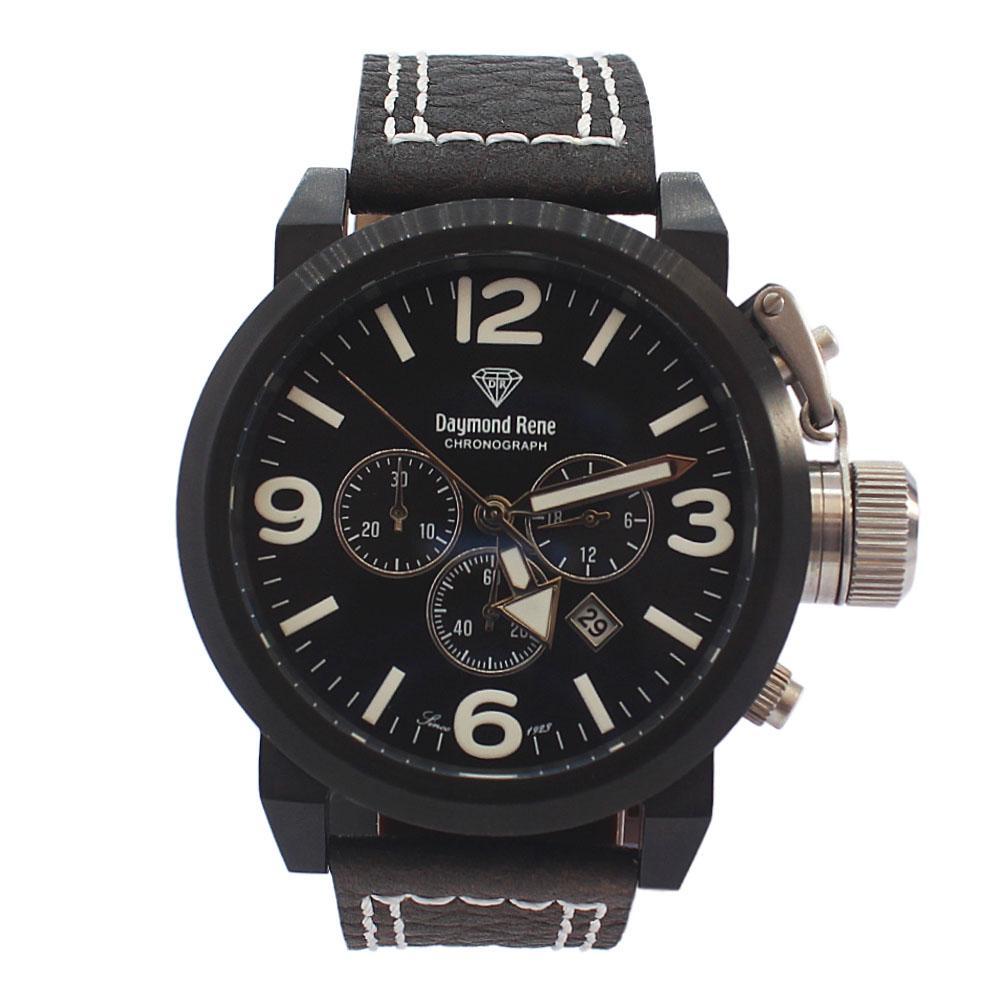 DR 10ATM Black Leather Bolt Chronograph Watch