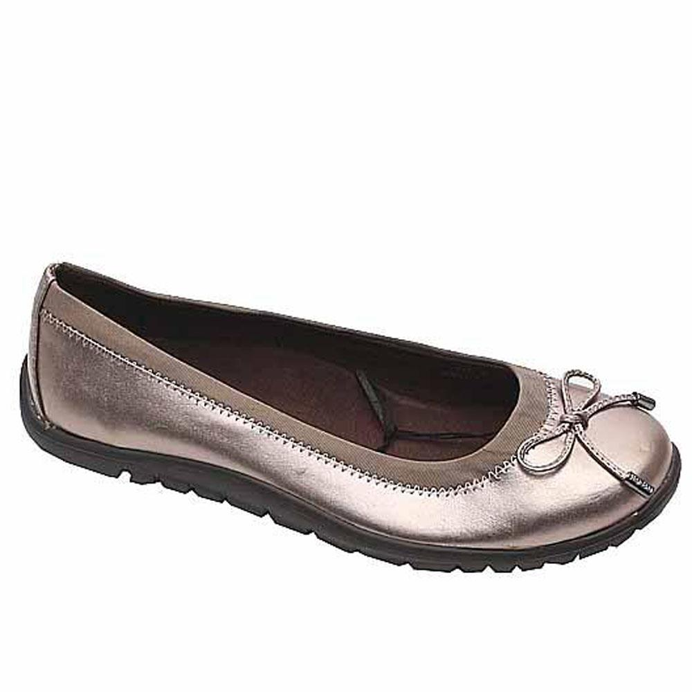 M&S Step Tone Olive Leather Ladies Flat Shoe-40