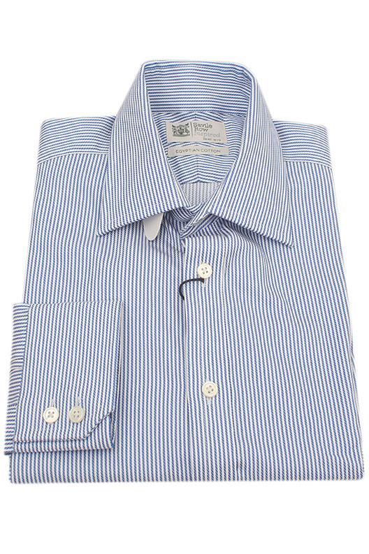 Savile Row Blue White Stripe Egyptian Cotton Men Shirt
