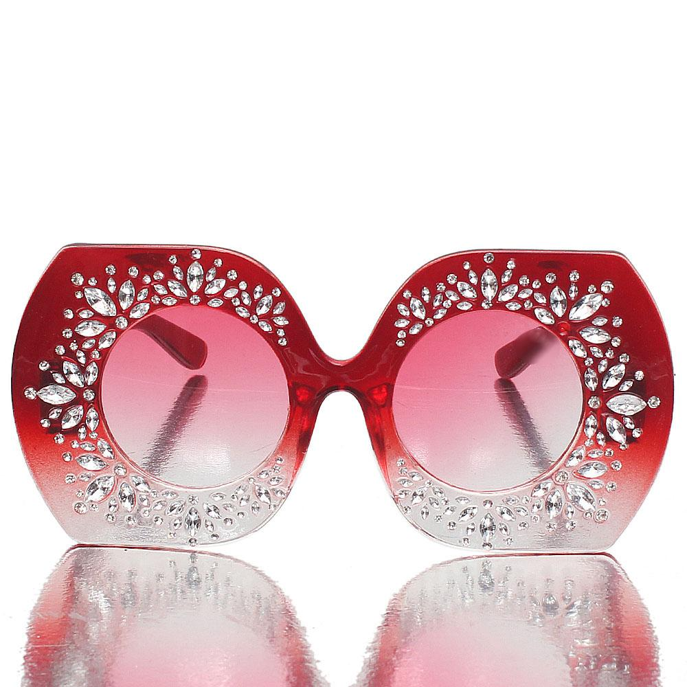 Red Studded Oversized Sunglasses