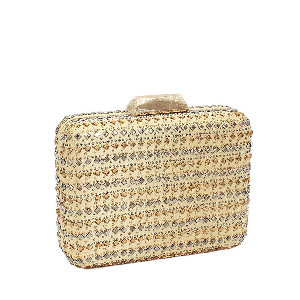 Gold Studded Fabric Clutch Purse
