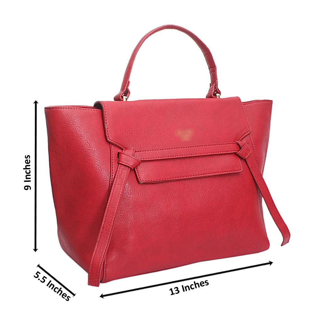 Red Leather Medium Belt Top Handle Handbag