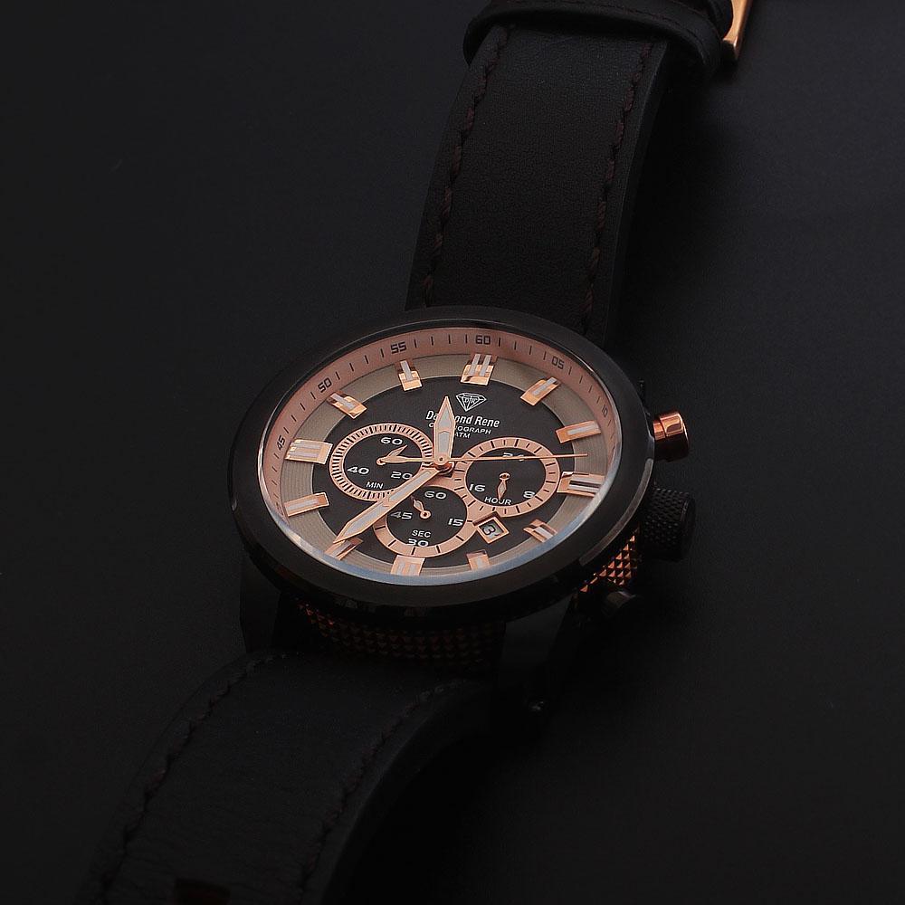 Daymond Rene Black 10 ATM Black Leather Chronograph Watch