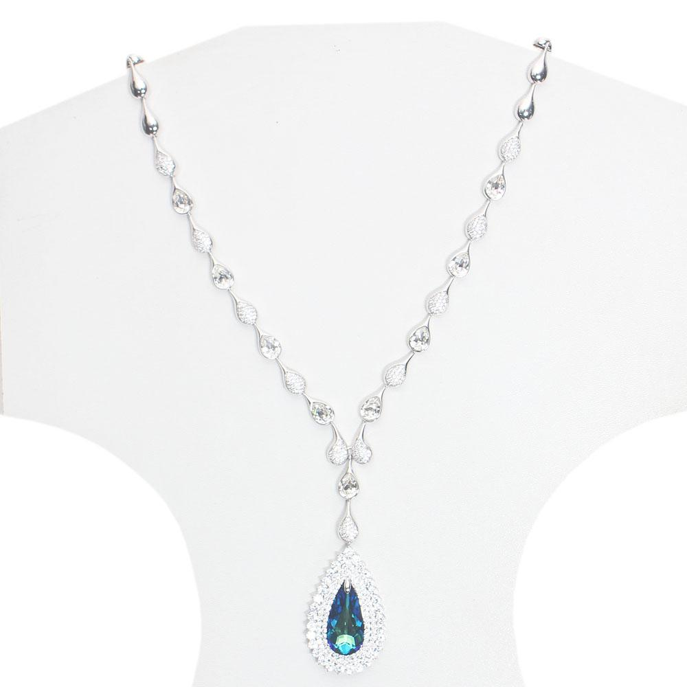 Tennis Necklace wt Small Blue Swarovski Element Pearl Drop Stone