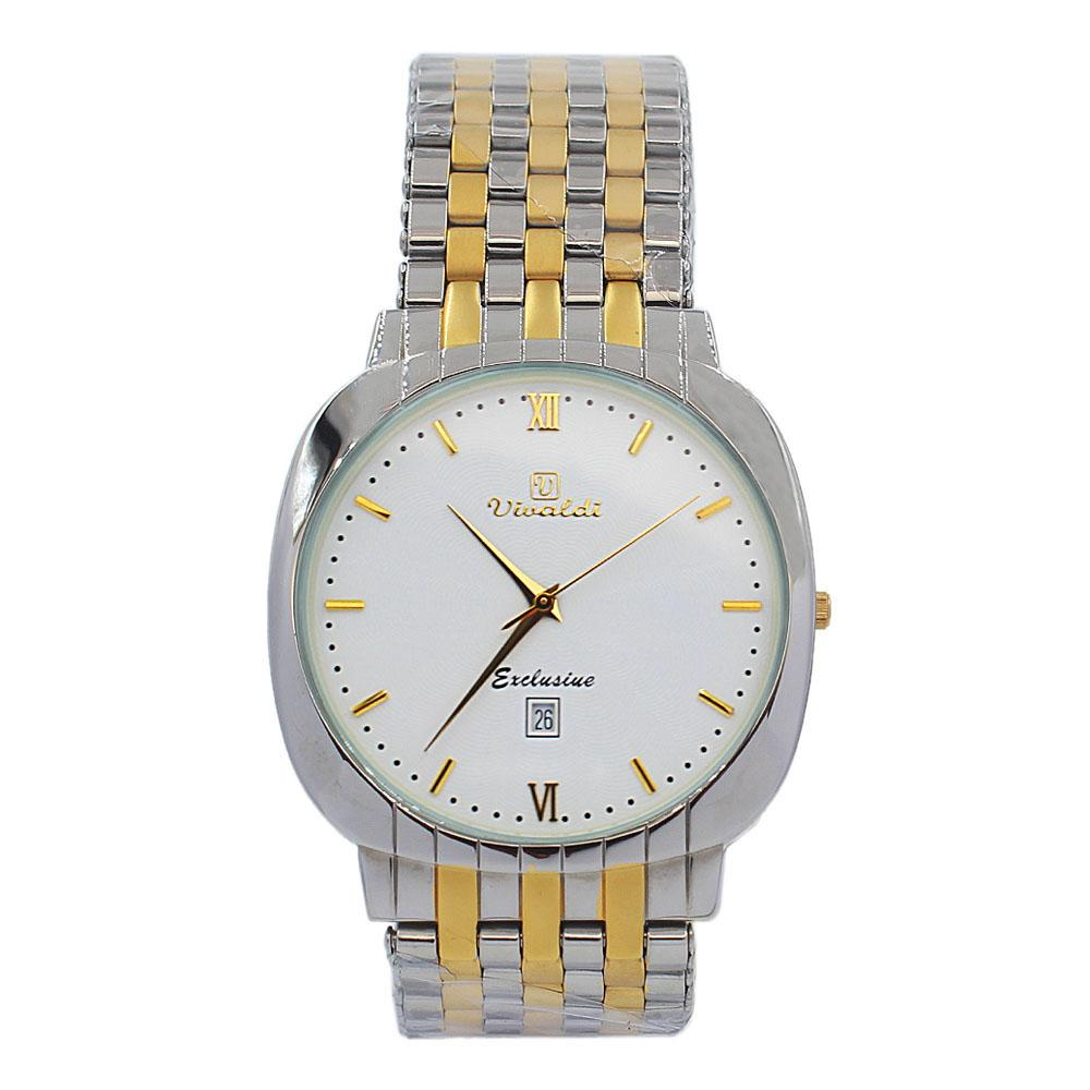 Silver Gold Troy White Face Stainless Steel Fashion Watch