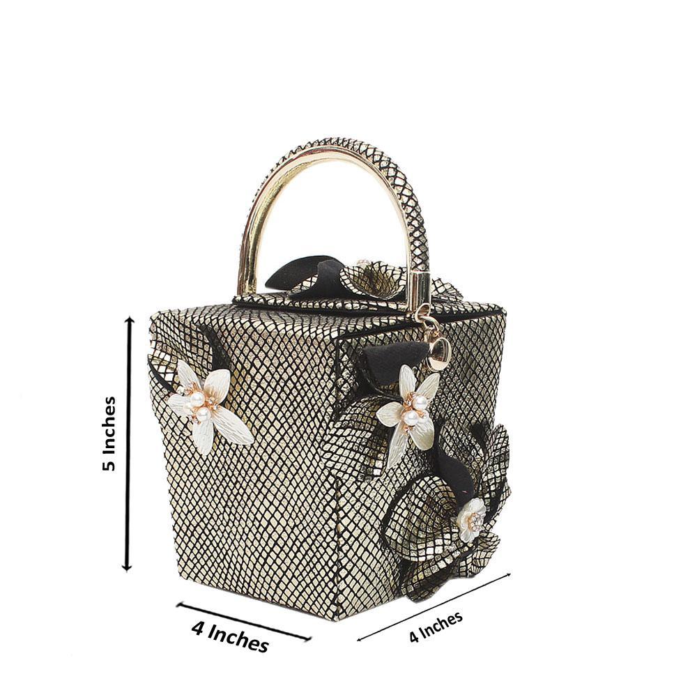 Gold Black Fabric Checked Mini Handbag