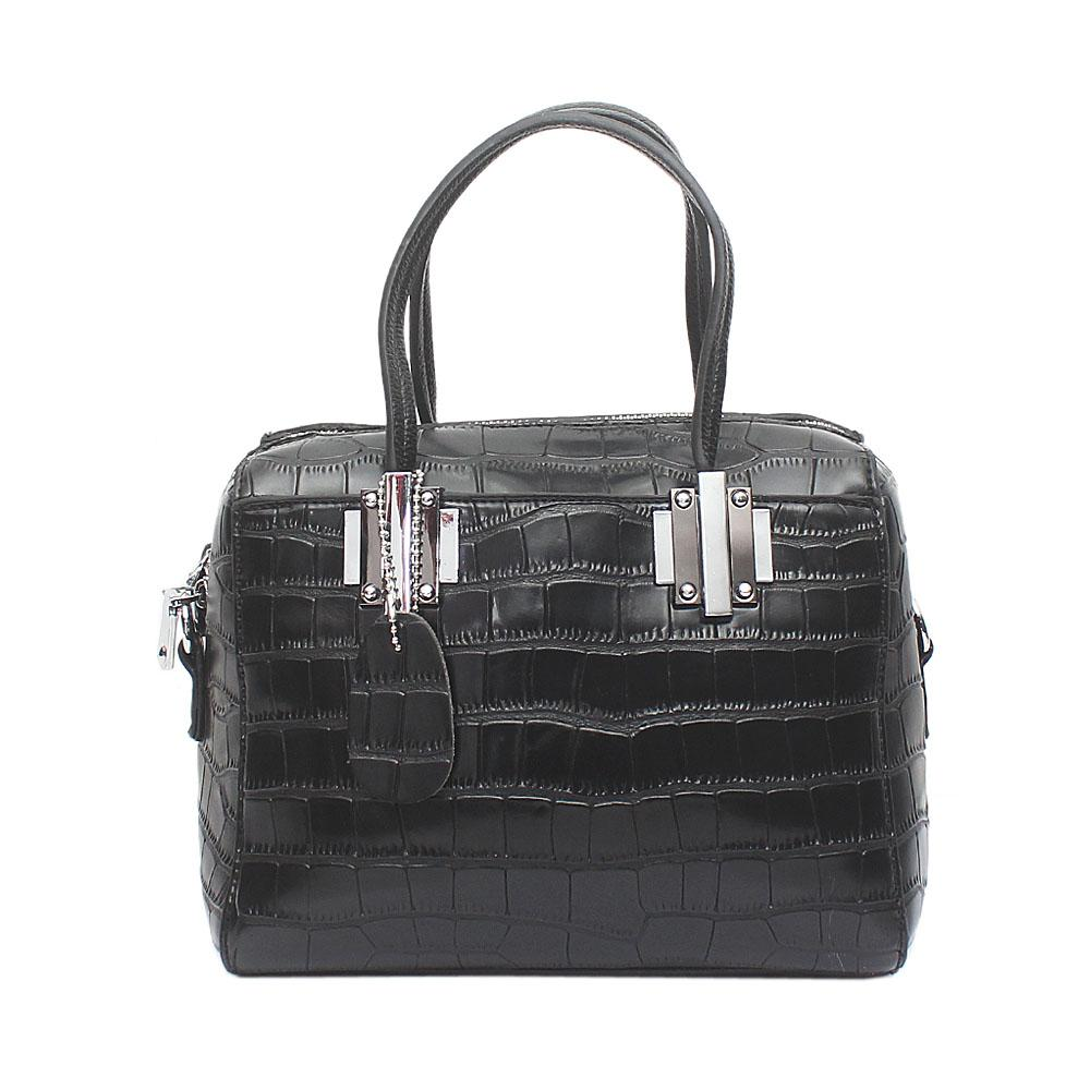Black Croc Leather Small Famous Bag