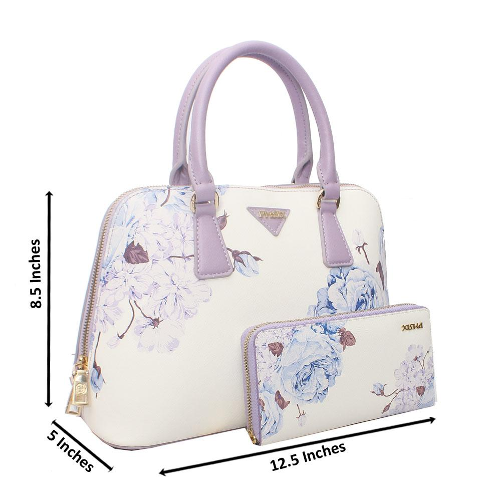 PMSix Purple White Floral Patterned Cow-Leather Handbag wt Purse