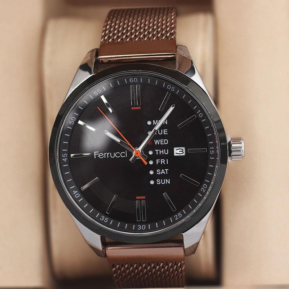 Ferrucci Arsenio Bronze Silver Mesh Watch