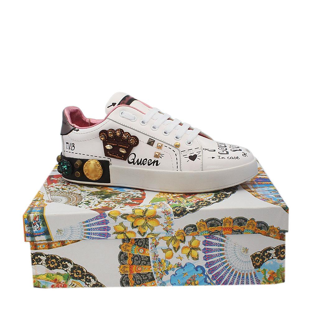 White Leather Ladies Sneakers