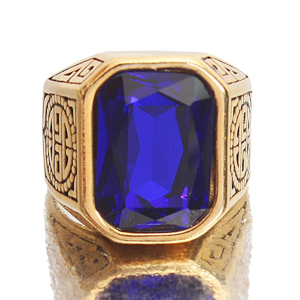 Gold Steel Blue Stoned Ring
