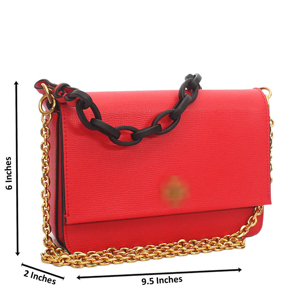 Red Cowhide Leather Chain Crossbody Bag
