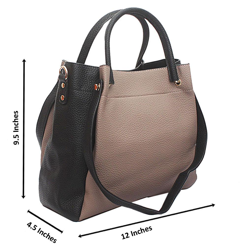 Nude-Black Kendo Medium Handbag