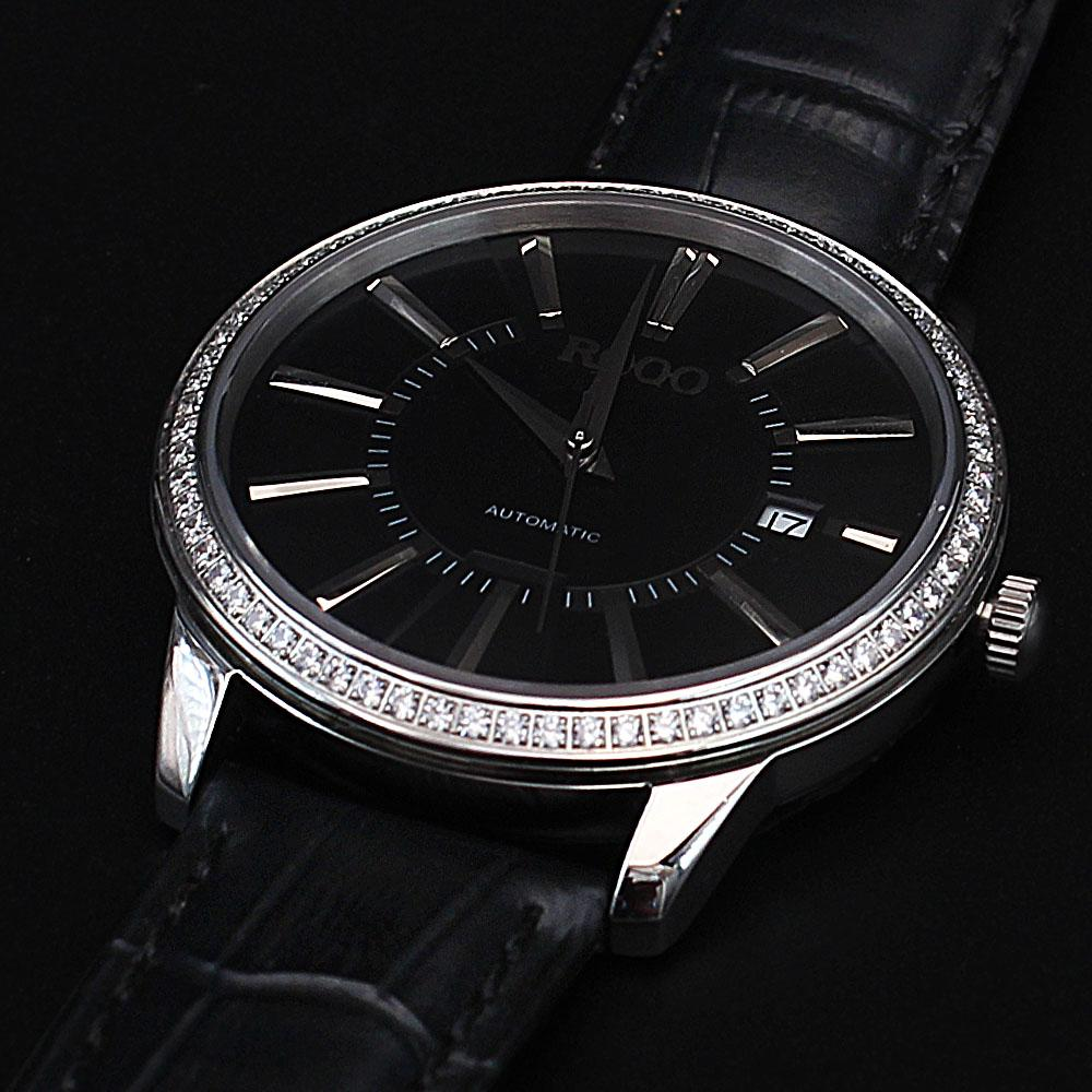 Shanghai Javier Round studded Black Leather Automatic Classic Watch
