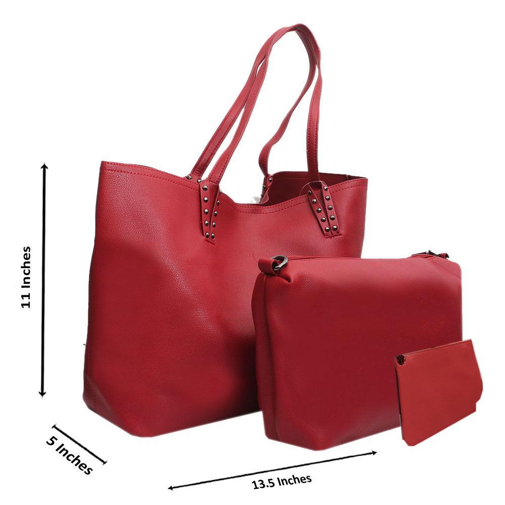 Red Leather Medium 3 in 1 Shoulder Handbag