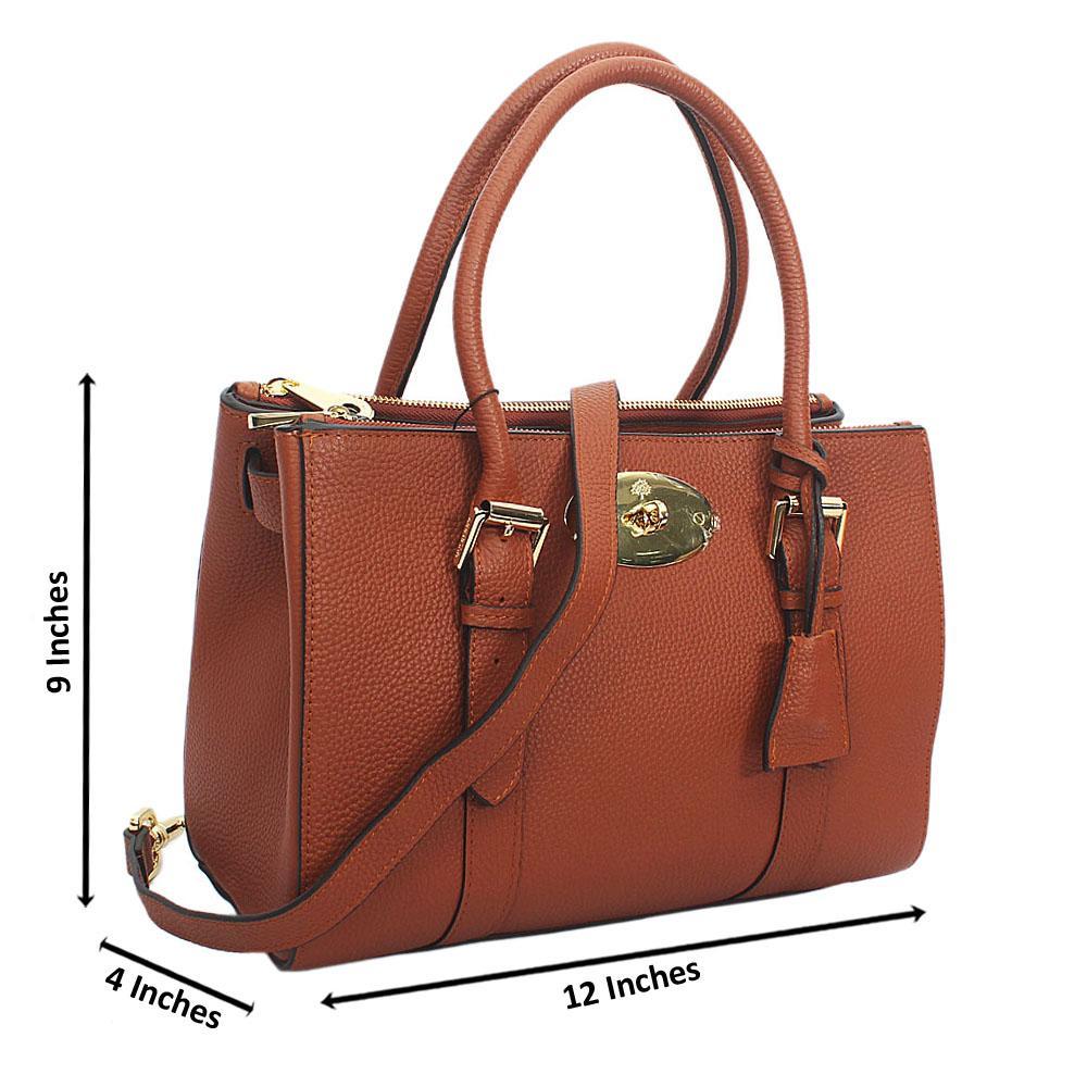 Brown Kya Double zip Cowhide Leather Tote Handbag