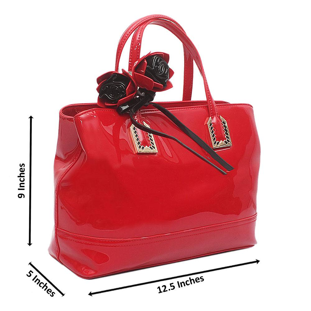 Red Dupo Medium Patent Leather Handbag