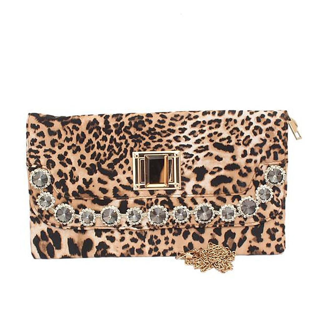 Fashion Leopard Skin Studded Ladies Clutch Purse-
