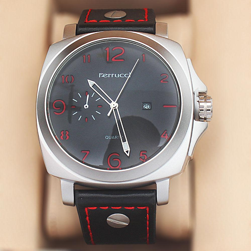 Ferrucci Panorama Fashion Watch wt Black Red Leather Strap