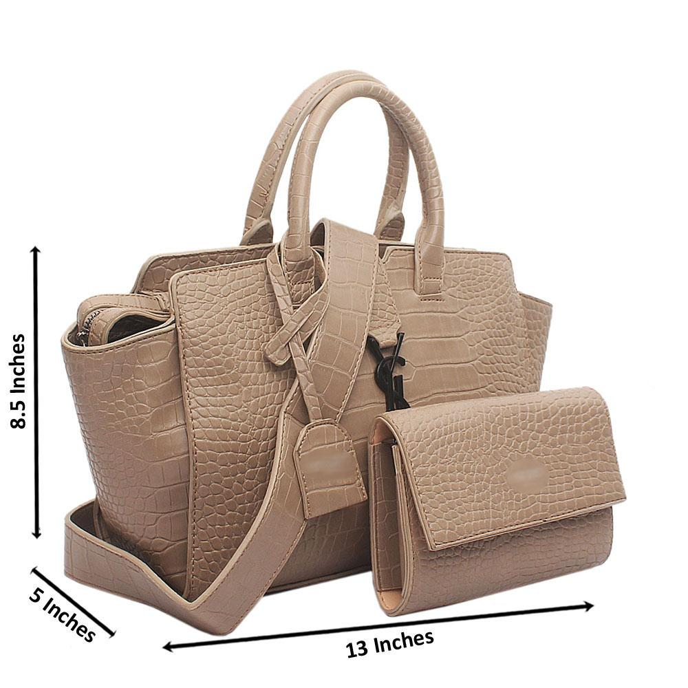 Nude Animal Skin Trapeziod Bag