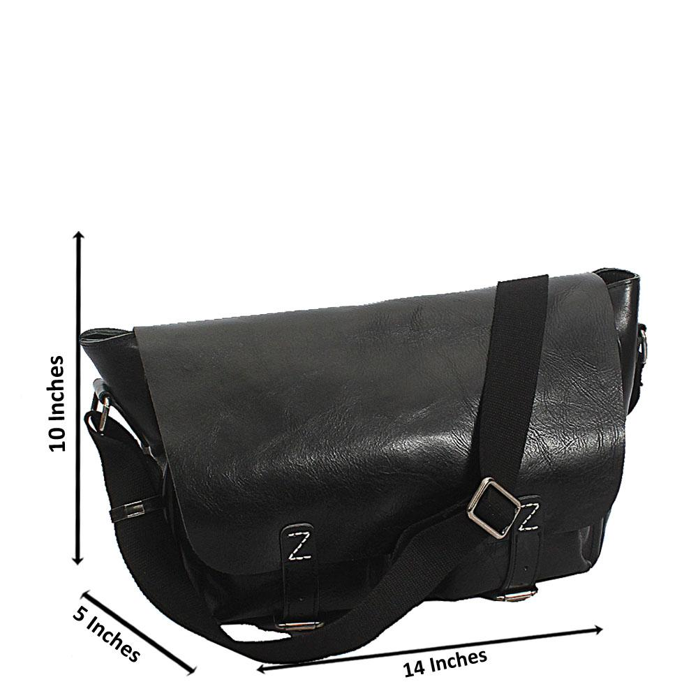Black Bremen Classic Double Pocket Leather Messenger Bag