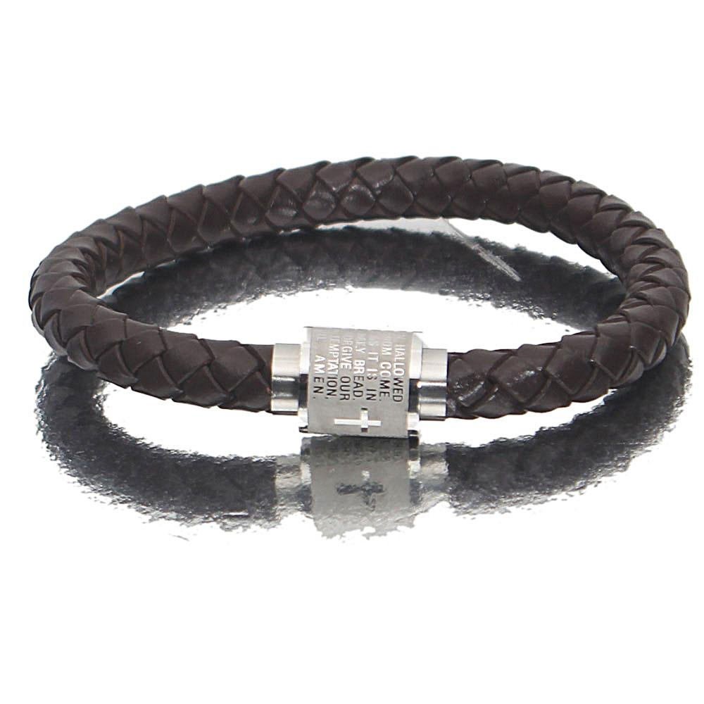 Silver Coffee Knob Leather Bracelet