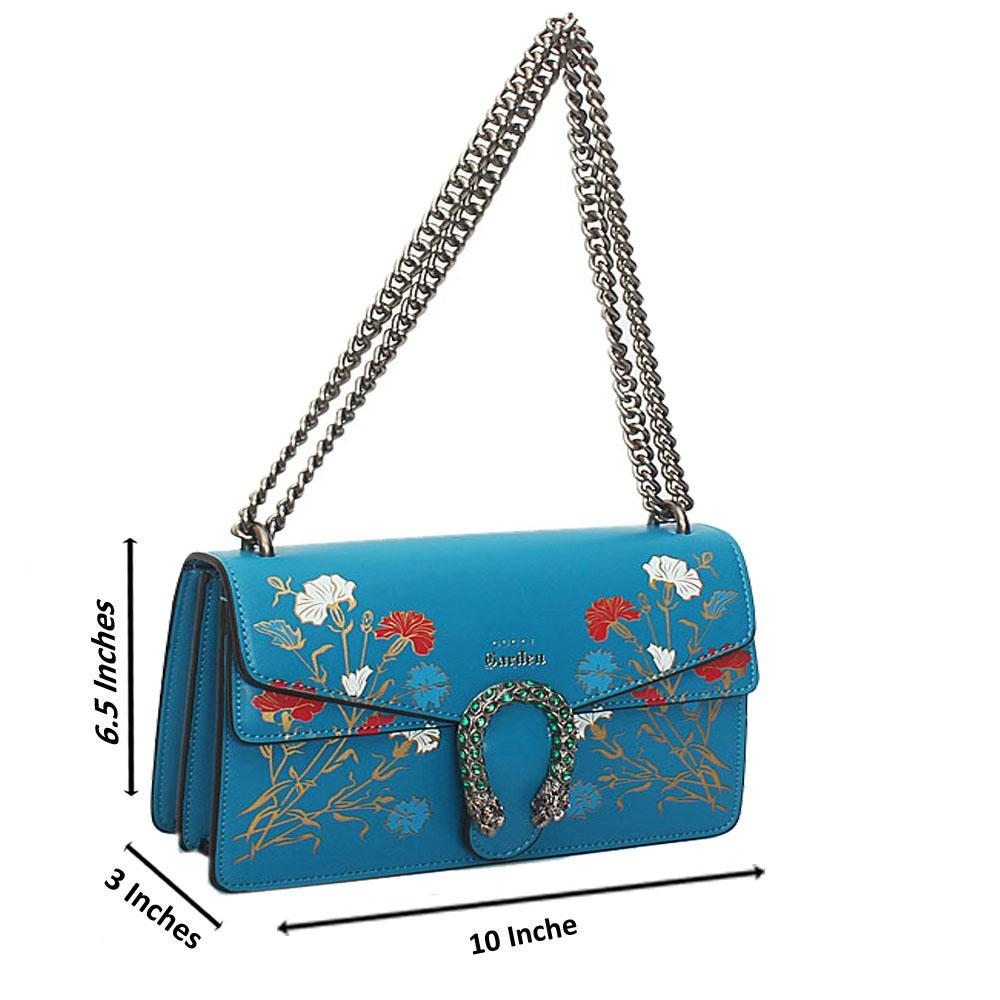 Blue Flora Graphic Print Tuscany Leather Chain Crossbody Handbag