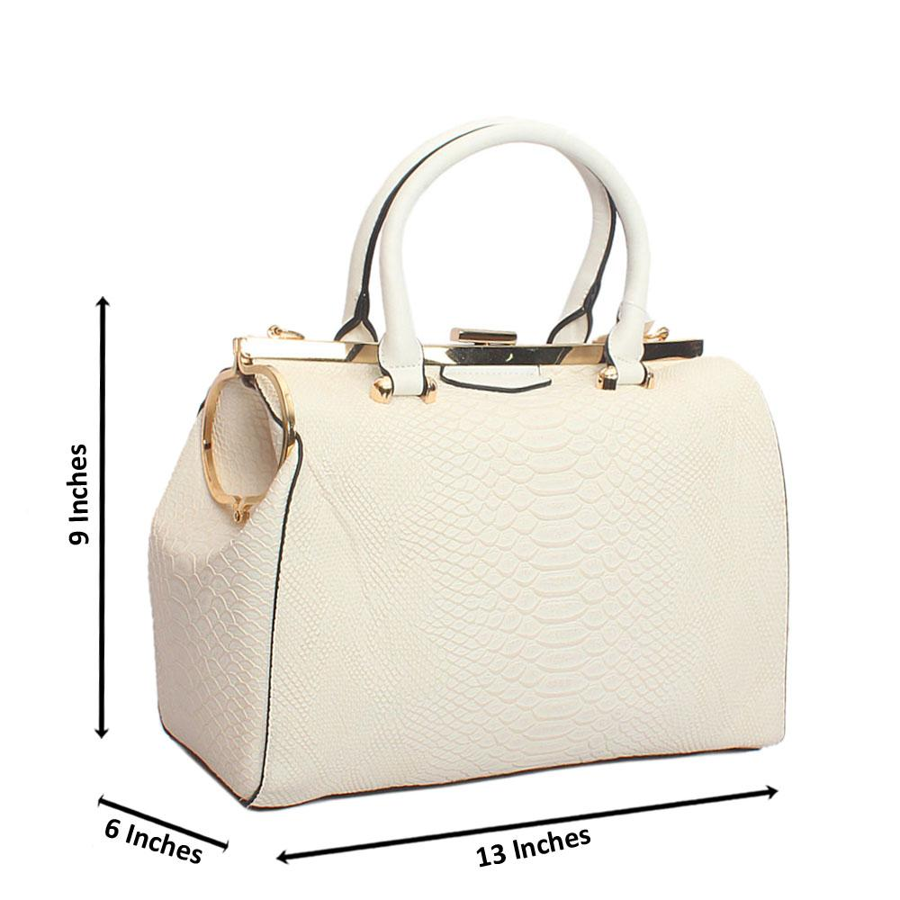 White Daisy Croc Tandy Leather Handbag