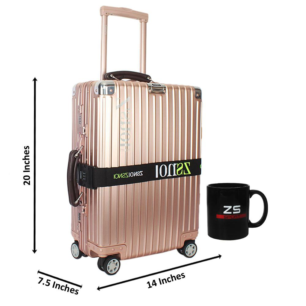 Pink Secret Agent Aluminum 20 Inch Carry on Suitcase wt Leather Handles