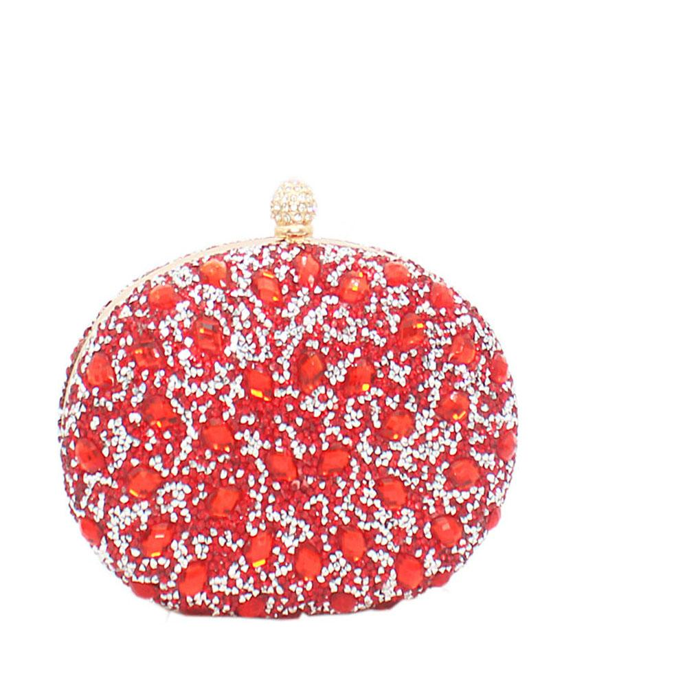 Red Prima De Rose Studded Clutch Purse