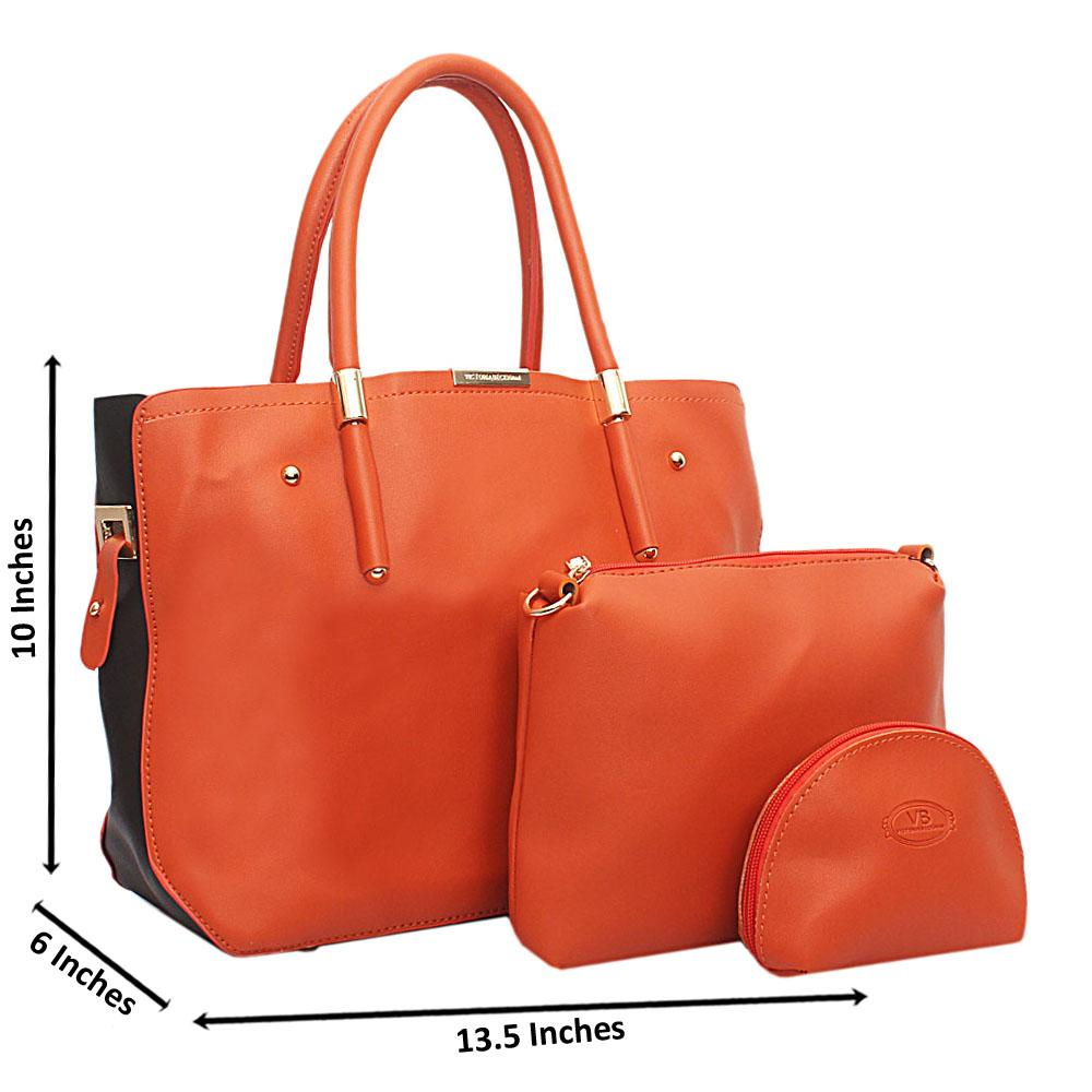 Orange Black  Leather 3 in 1 Handbag