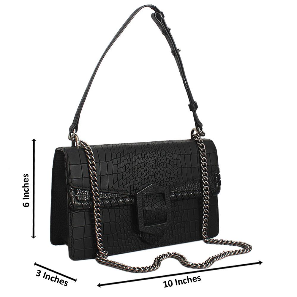 Black Dionysus Cow-Leather Crossbody Handbag
